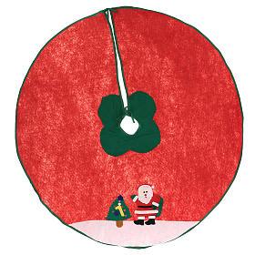 Falda cubre base Árbol de Navidad Papá Noel y arbolito 100 cm s1