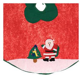 Falda cubre base Árbol de Navidad Papá Noel y arbolito 100 cm s2