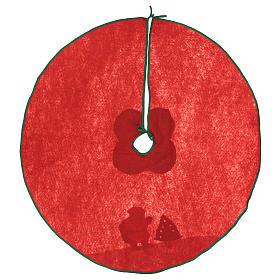 Falda cubre base Árbol de Navidad Papá Noel y arbolito 100 cm s4