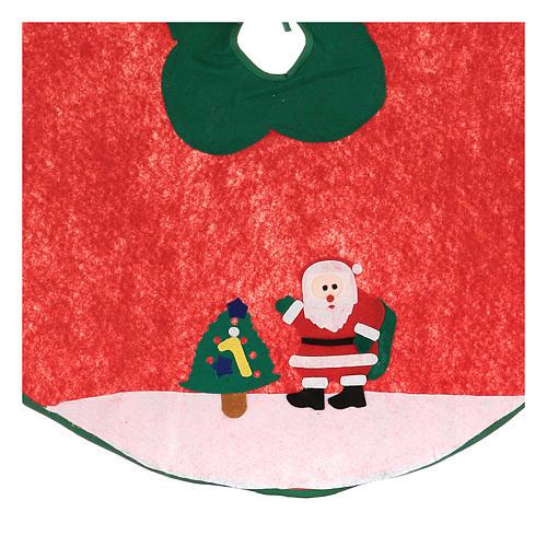 Falda cubre base Árbol de Navidad Papá Noel y arbolito 100 cm 2
