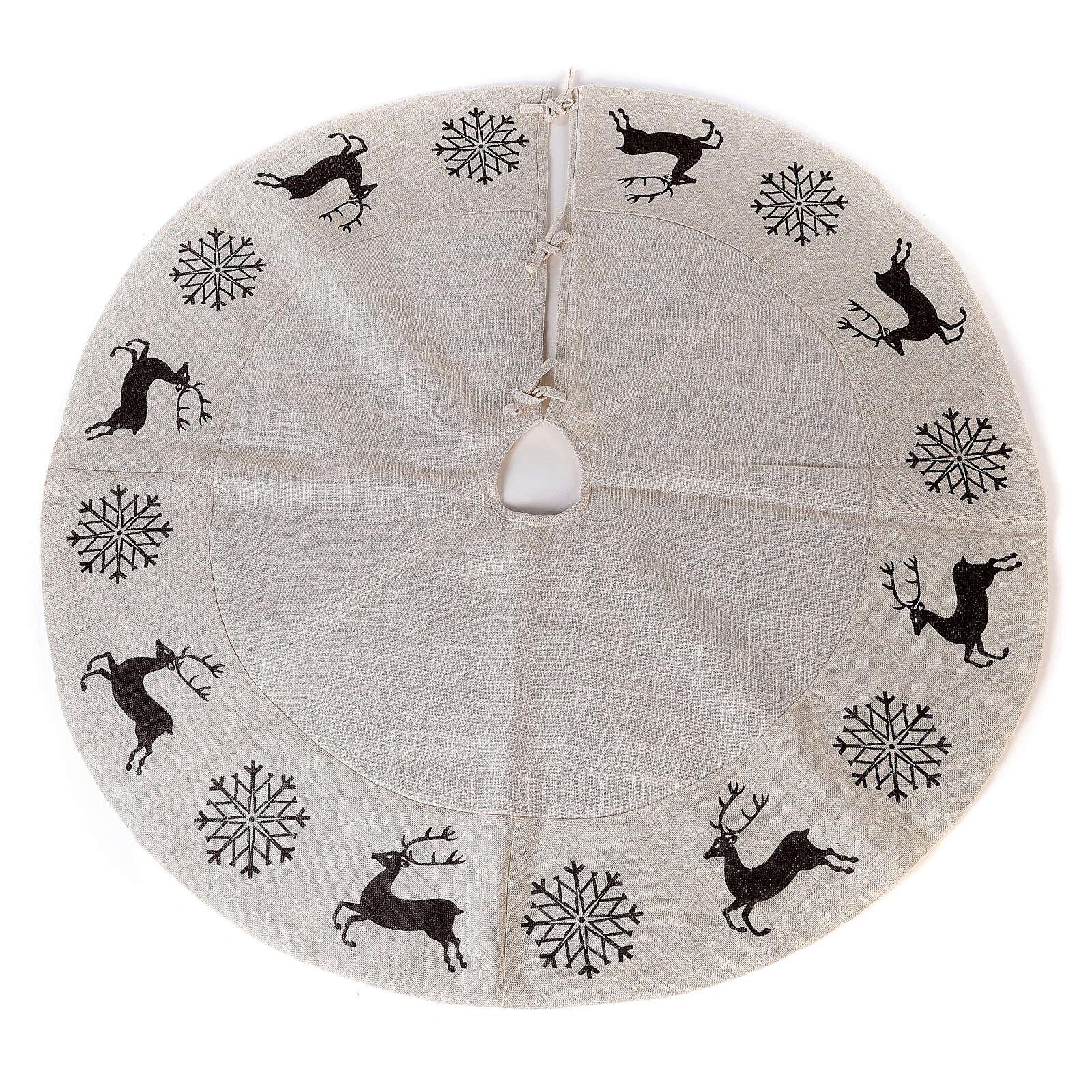 Christmas tree skirt deer and snowflakes 120 cm lurex and cotton 3