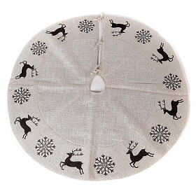 Christmas tree skirt deer and snowflakes 120 cm lurex and cotton s1