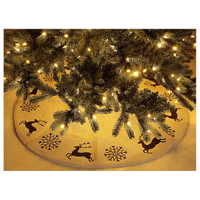 Christmas tree skirt deer and snowflakes 120 cm lurex and cotton s2