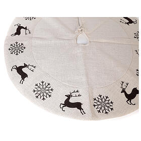 Christmas tree skirt deer and snowflakes 120 cm lurex and cotton s3