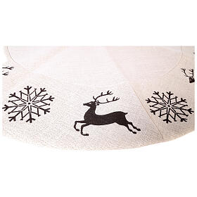 Christmas tree skirt deer and snowflakes 120 cm lurex and cotton s4