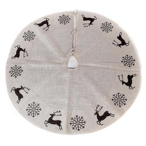 Christmas tree skirt deer and snowflakes 120 cm lurex and cotton 1