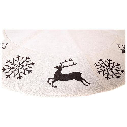 Christmas tree skirt deer and snowflakes 120 cm lurex and cotton 4