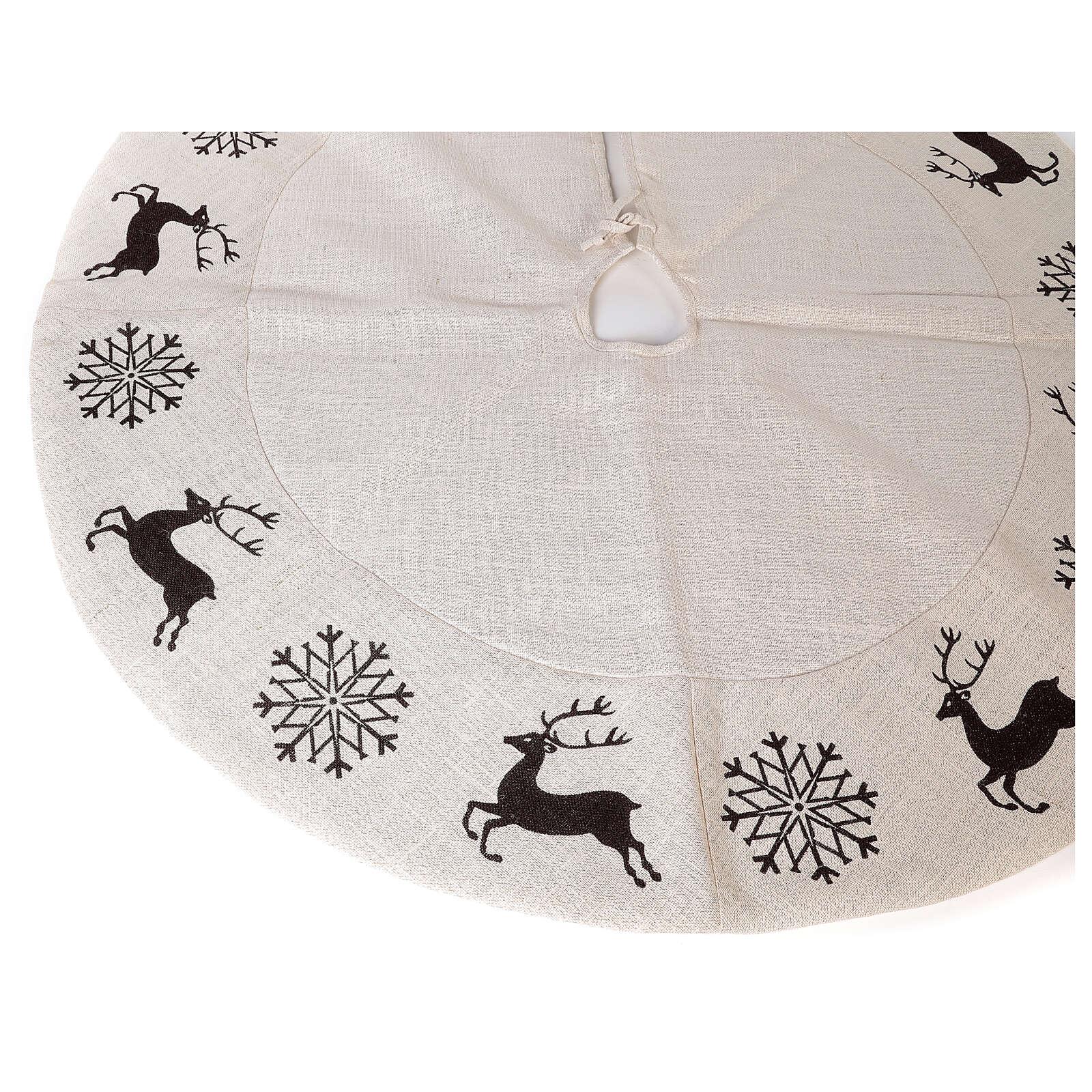 Copribase Albero Natale cervo fiocchi neve d. 1,20 cm lurex cotone 3