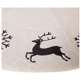 Copribase Albero Natale cervo fiocchi neve d. 1,40 cm lurex cotone s4