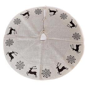 Copribase Albero Natale cervo fiocchi neve d. 1,20 cm lurex cotone s1