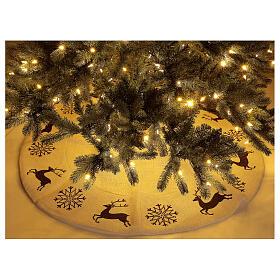 Copribase Albero Natale cervo fiocchi neve d. 1,20 cm lurex cotone s2