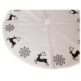 Copribase Albero Natale cervo fiocchi neve d. 1,20 cm lurex cotone s3