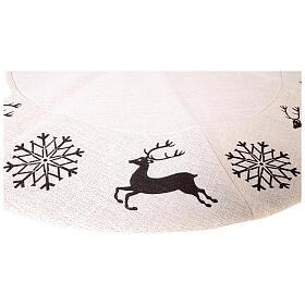 Copribase Albero Natale cervo fiocchi neve d. 1,20 cm lurex cotone s4