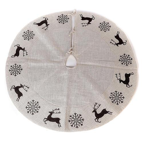 Copribase Albero Natale cervo fiocchi neve d. 1,40 cm lurex cotone 1
