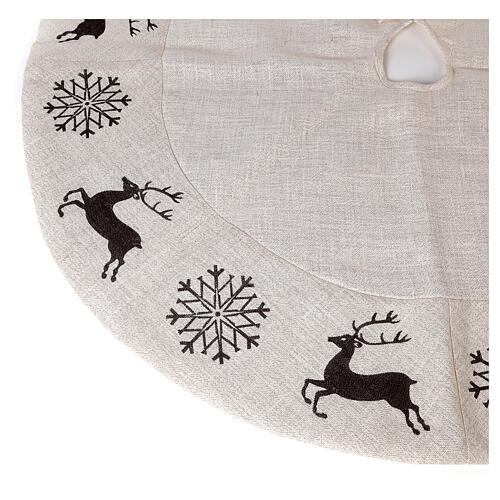 Copribase Albero Natale cervo fiocchi neve d. 1,40 cm lurex cotone 3