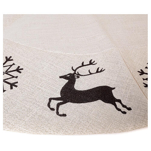 Copribase Albero Natale cervo fiocchi neve d. 1,40 cm lurex cotone 4