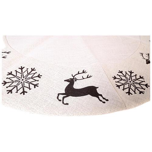 Copribase Albero Natale cervo fiocchi neve d. 1,20 cm lurex cotone 4