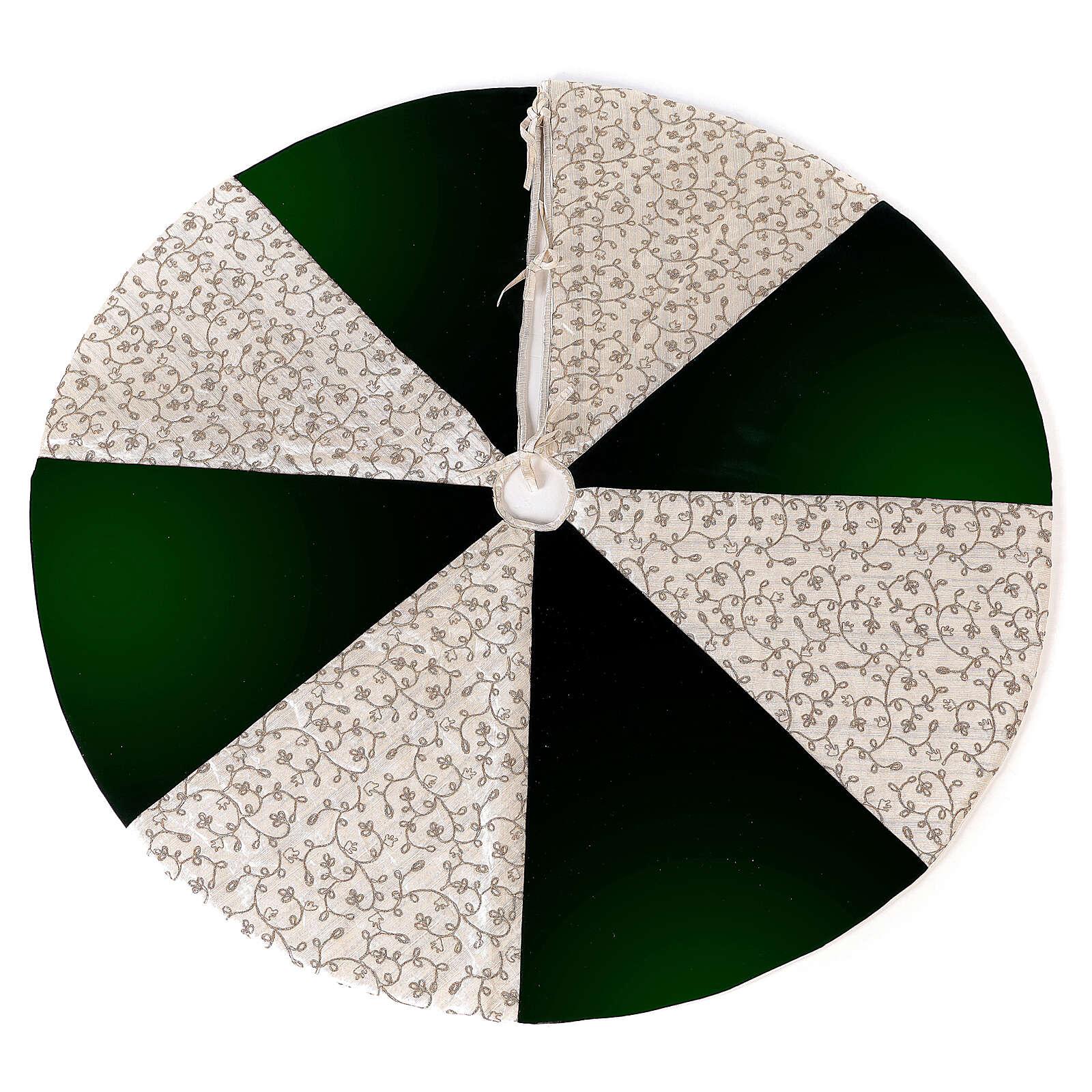 Copribase Albero Natale bianco verde d. 1,20 cm poli. rayon cotone 3