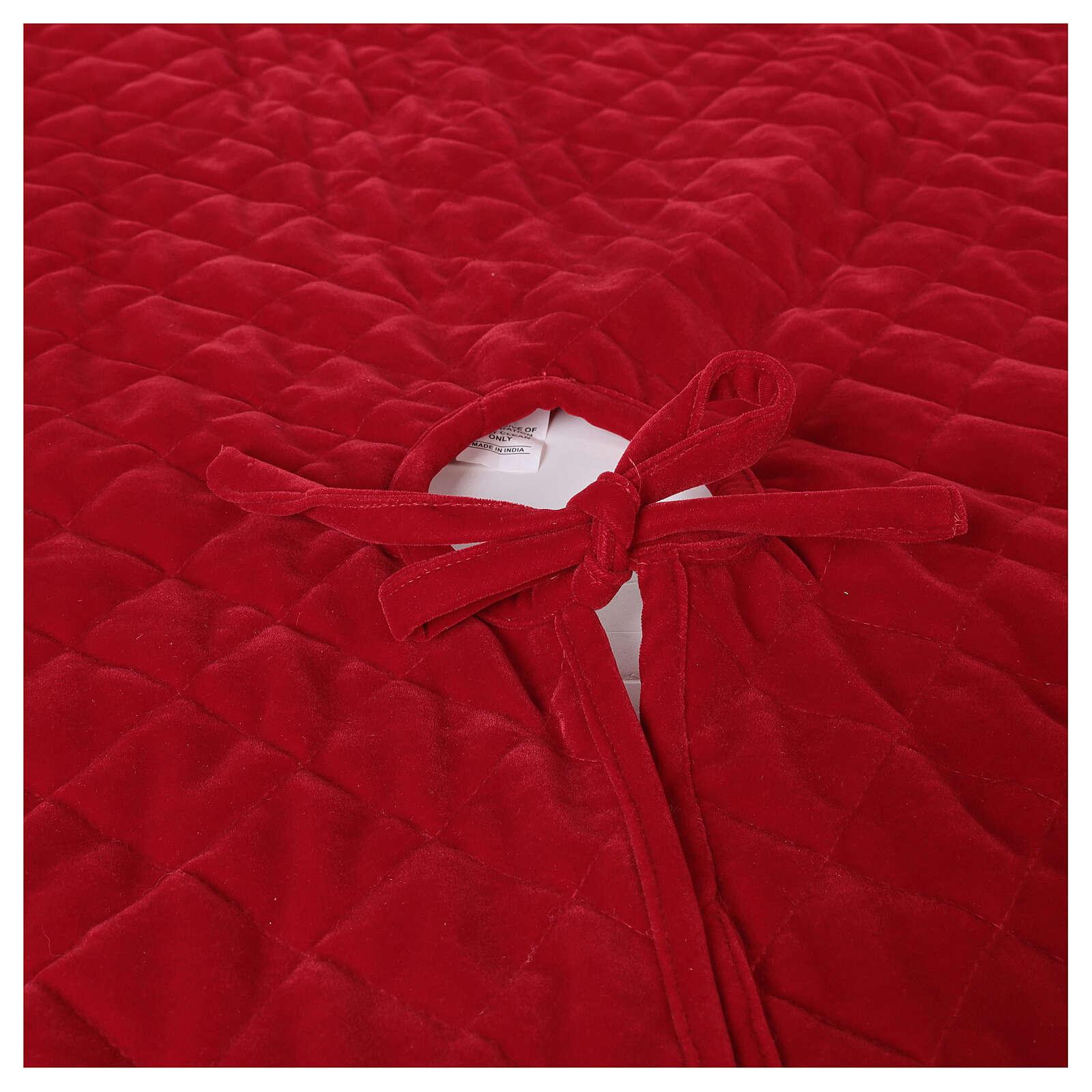 Copribase Albero Natale velluto rosso d. 1,40 cm poli. rayon cotone 3