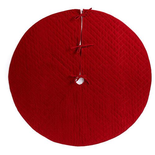 Copribase Albero Natale velluto rosso d. 1,40 cm poli. rayon cotone 1