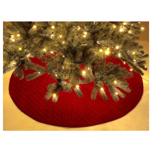 Copribase Albero Natale velluto rosso d. 1,40 cm poli. rayon cotone 2
