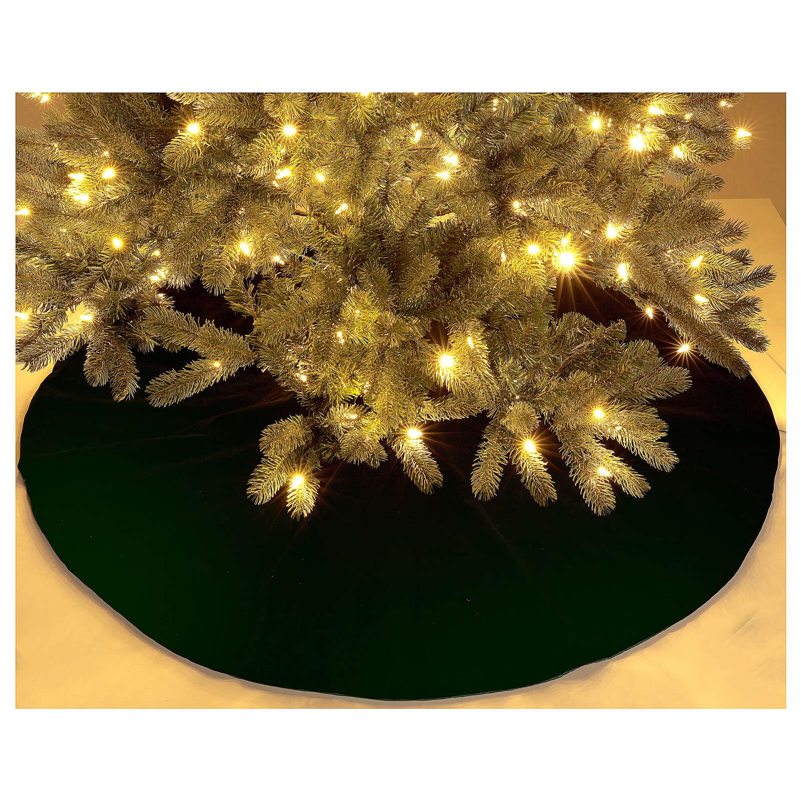 Green velvet Christmas tree skirt 140 cm poly and cotton 3