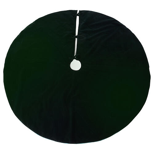 Green velvet Christmas tree skirt 140 cm poly and cotton 1