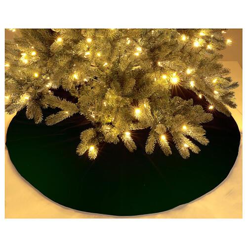 Falda cubre base para Árbol de Navidad terciopelo verde d. 1,40 cm poli. algodón 2