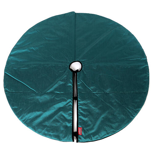 Falda cubre base para Árbol de Navidad terciopelo verde d. 1,40 cm poli. algodón 5