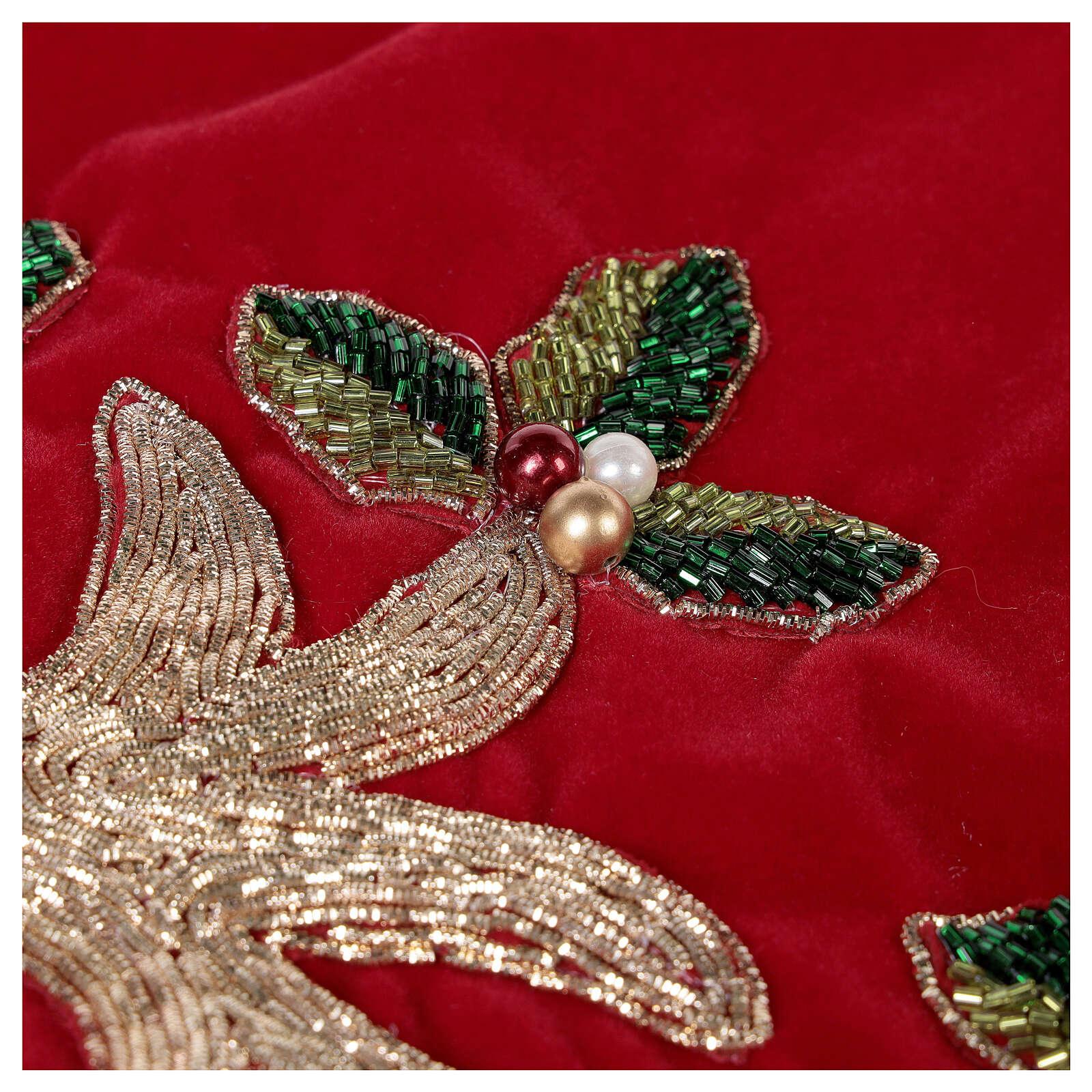Copribase Albero Natale rosso vischio d. 1,40 cm poli. rayon cotone 3