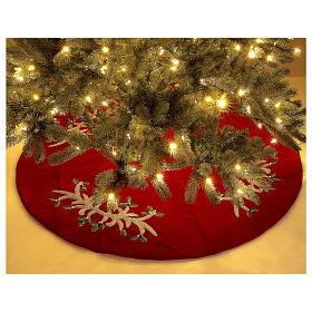 Copribase Albero Natale rosso vischio d. 1,40 cm poli. rayon cotone s2