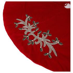 Copribase Albero Natale rosso vischio d. 1,40 cm poli. rayon cotone s3
