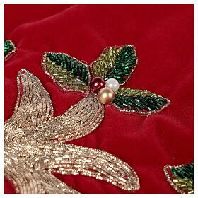 Copribase Albero Natale rosso vischio d. 1,40 cm poli. rayon cotone s5