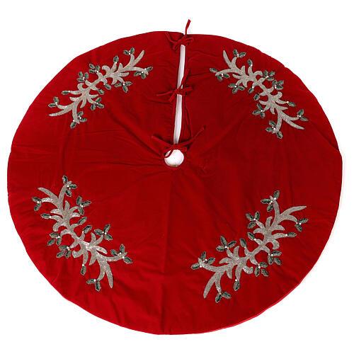 Copribase Albero Natale rosso vischio d. 1,40 cm poli. rayon cotone 1
