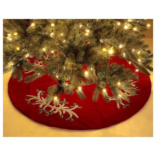 Copribase Albero Natale rosso vischio d. 1,40 cm poli. rayon cotone 2