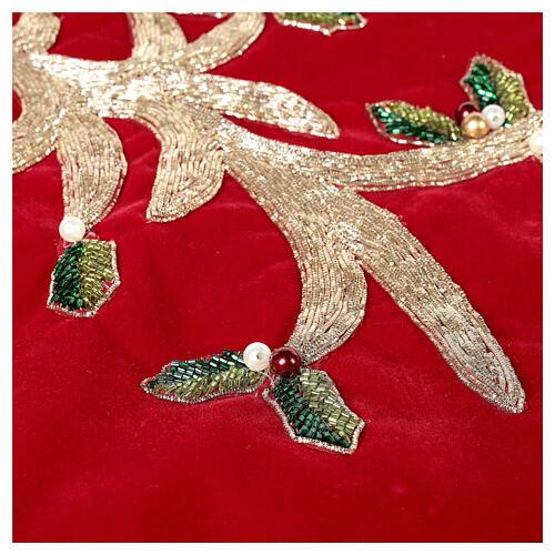 Copribase Albero Natale rosso vischio d. 1,40 cm poli. rayon cotone 4