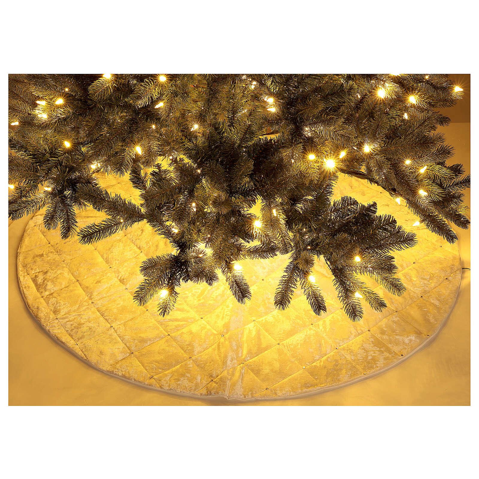 Copribase Albero Natale bianco strass d. 1,45 cm poli. rayon cotone 3