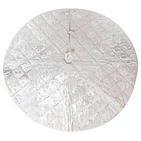 Copribase Albero Natale bianco strass d. 1,45 cm poli. rayon cotone s1