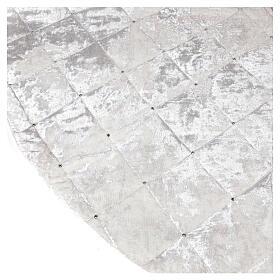 Copribase Albero Natale bianco strass d. 1,45 cm poli. rayon cotone s3