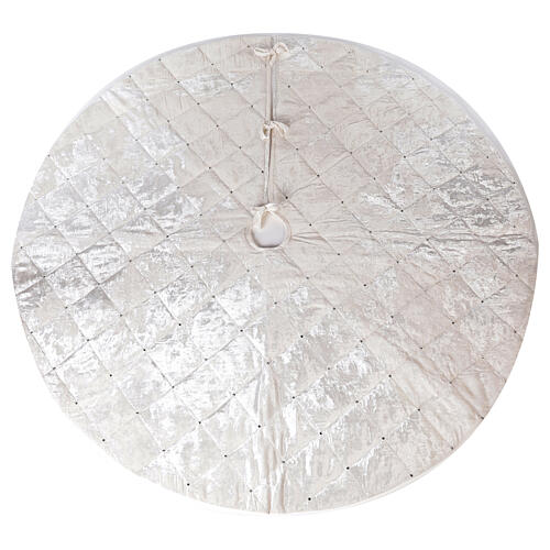 Copribase Albero Natale bianco strass d. 1,45 cm poli. rayon cotone 1