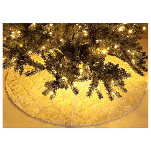Copribase Albero Natale bianco strass d. 1,45 cm poli. rayon cotone 2