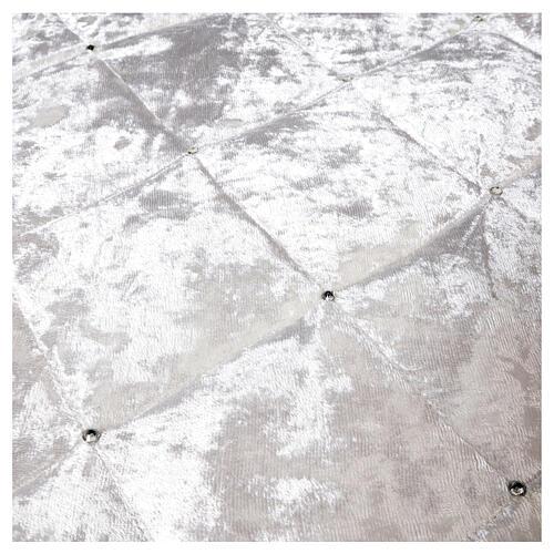 Copribase Albero Natale bianco strass d. 1,45 cm poli. rayon cotone 4