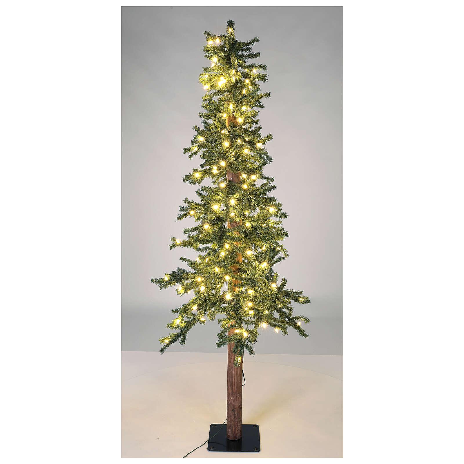 STOCK Albero Natale 210 cm abete Slim Forest 300 luci led caldi esterno 3
