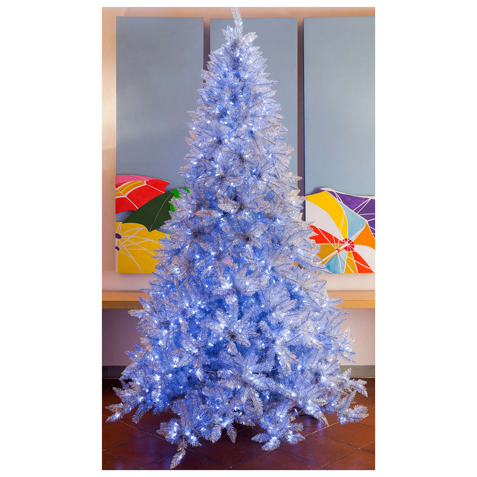 STOCK Vintage Silver Christmas Tree 230 cm with 400 LEDs outdoor 3