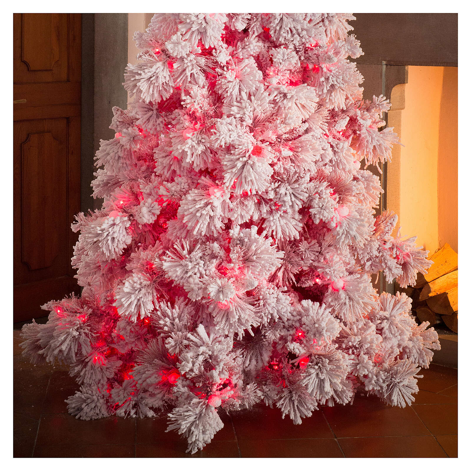 STOCK Sapin de Noël 340 cm enneigé Red Velvet 1050 LED 3