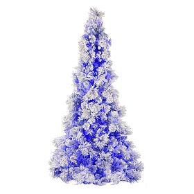 STOCK Sapin de Noël Virginia Blue 230 cm enneigé 400 LED intérieur s1