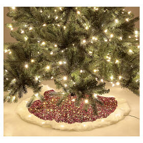 Christmas Tree skirt red sequins with warm white LED lights 1 m s2