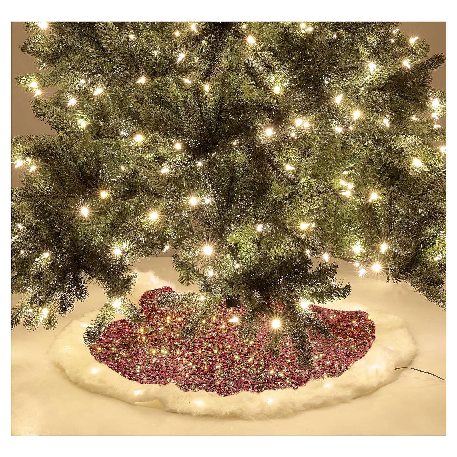 Copribase albero paillettes rosse luci led bianco caldo 1 m 3