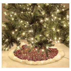 Copribase albero paillettes rosse luci led bianco caldo 1 m s2