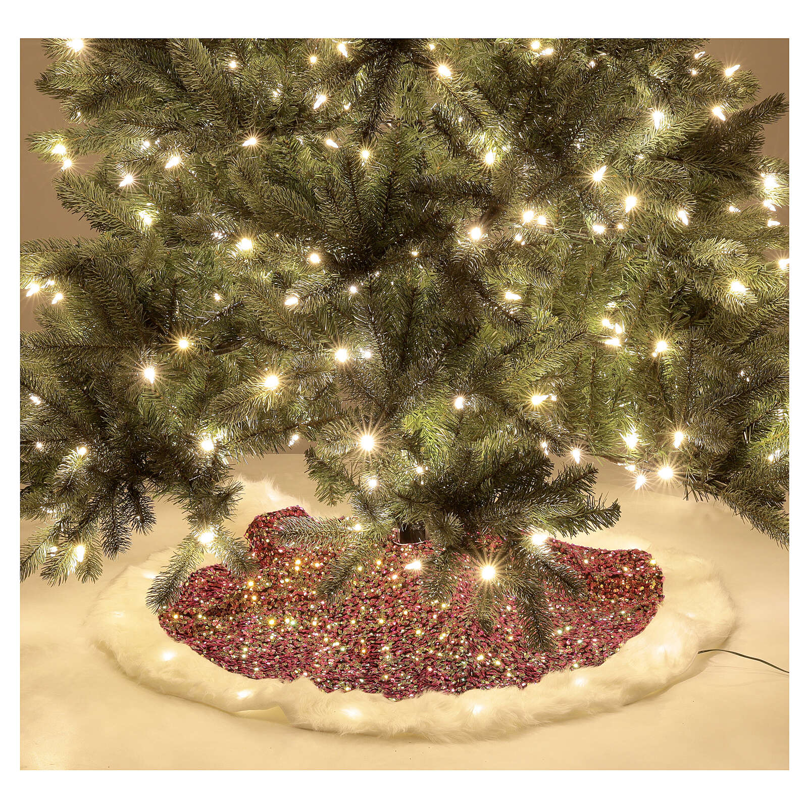 Christmas Tree skirt red sequins with warm white LED lights 1 m 3